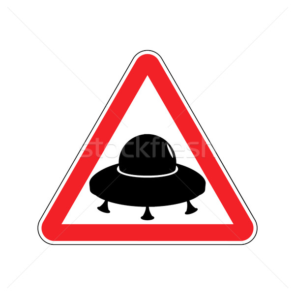 UFO Warning sign yellow. Aliens Hazard attention symbol. Danger  Stock photo © popaukropa