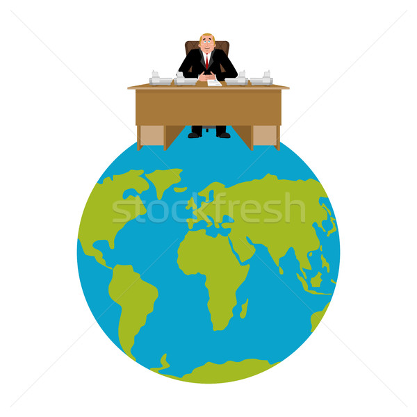 President of world. Big Boss Planet Earth. master is businessman Stock photo © popaukropa