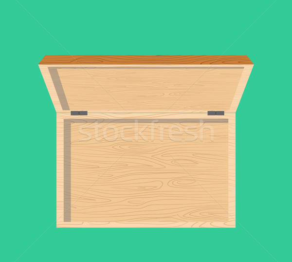 Open wooden box top view isolated. casket Stock photo © popaukropa