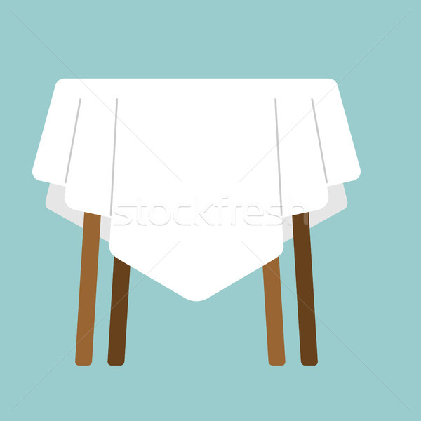 table with tablecloth isolated. Furniture on white background Stock photo © popaukropa