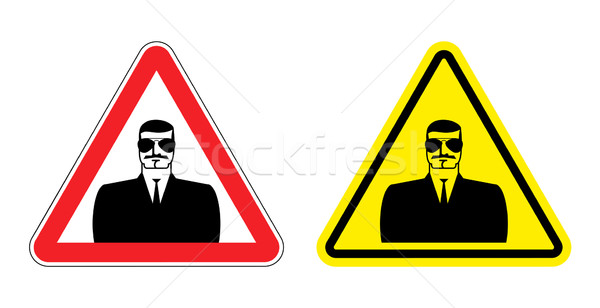 Warning sign of attention to spy. Hazard yellow sign secret agen Stock photo © popaukropa