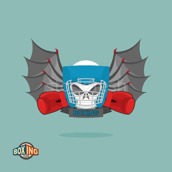 Photo stock: Boxe · emblème · crâne · casque · gants · ailes