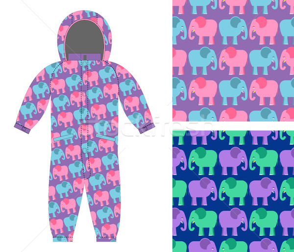 Childrens winter overalls. Fabric seamless pattern cute elephant Stock photo © popaukropa