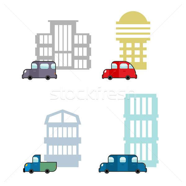 Szett autó ház szállítás üzlet épületek Stock fotó © popaukropa