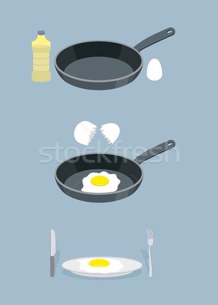 Utasítás főzés rántotta serpenyő üveg olaj Stock fotó © popaukropa