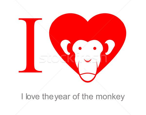 Sevmek yıl maymun 2016 kalp kırmızı Stok fotoğraf © popaukropa