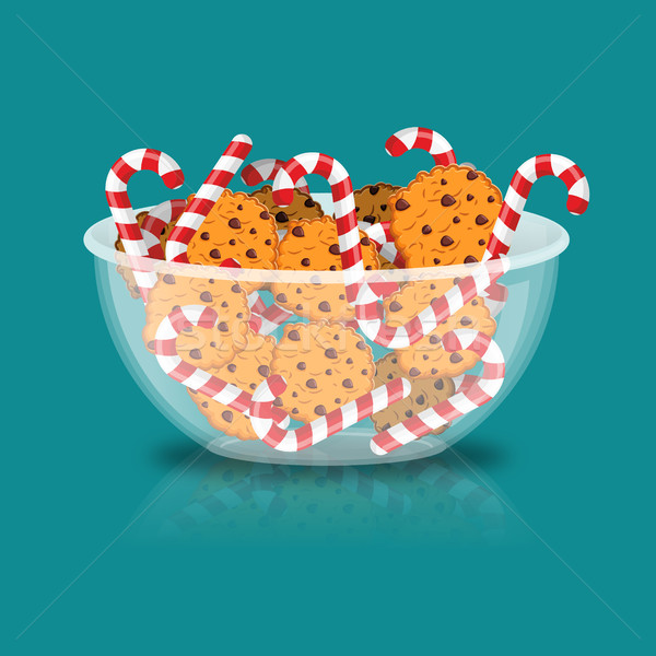 Peppermint Christmas candy and cookies in glass bowl. Cookie in  Stock photo © popaukropa