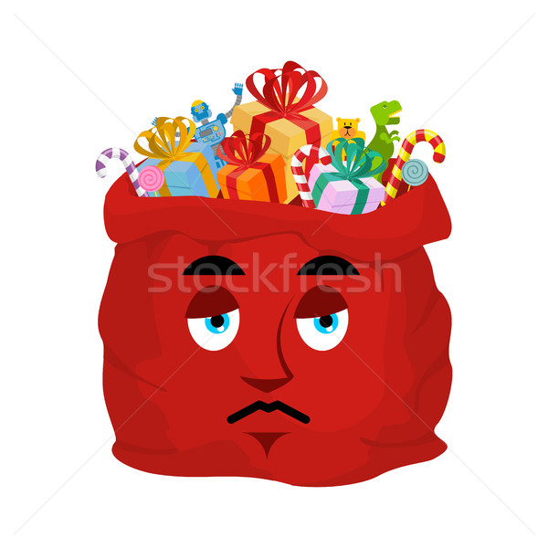 Santa bag sad Emoji. Christmas sack with gifts sorrowfu emotion. Stock photo © popaukropa