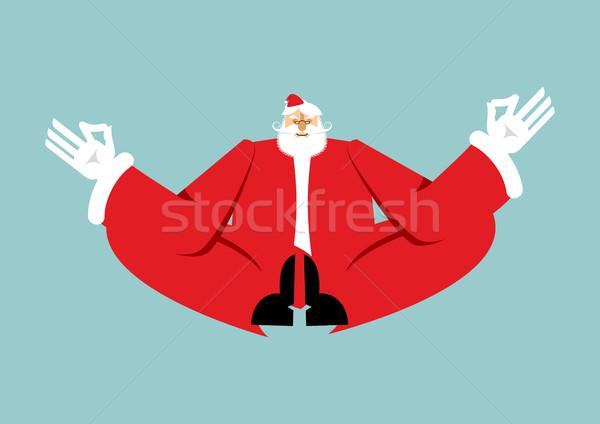 Рождества йога Дед Мороз Новый год zen деда Сток-фото © popaukropa
