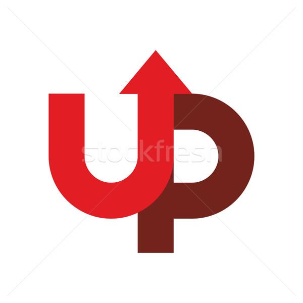 Start up logo. Up arrow emblem. starting business logotype Stock photo © popaukropa