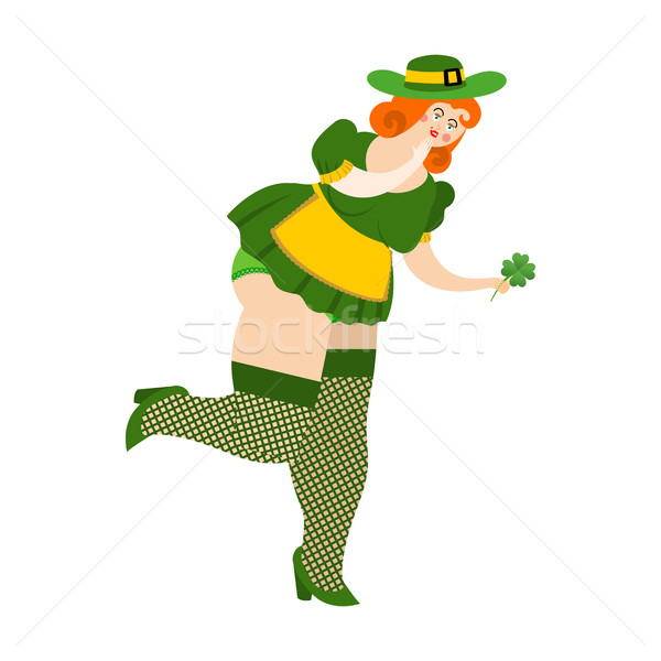 Leprechaun girl with red hair Find clover. Beautiful woman in gr Stock photo © popaukropa
