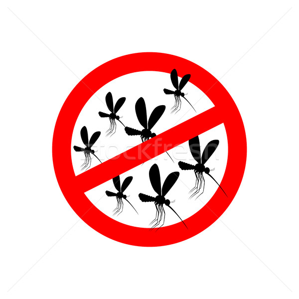 Stock photo: Stop mosquito. Red prohibition sign. Ban insects