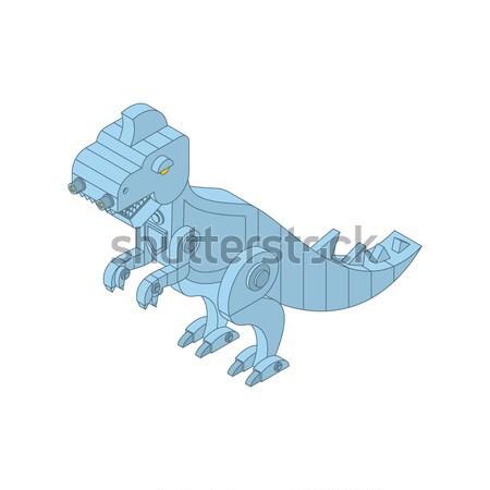 Dinosaur toy clockwork. Vintage Tyrannosaurus and key. Dino T-re Stock photo © popaukropa