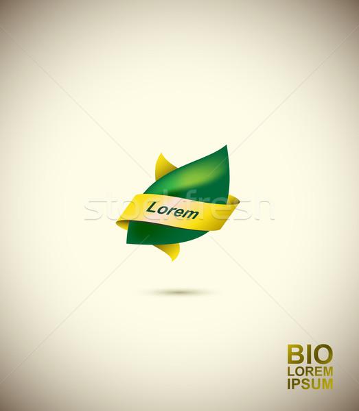 Foto stock: Logotipo · folha · árvore · em · torno · de · espaço · texto