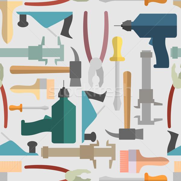 Stock fotó: Kéz · szerszámok · végtelen · minta · vektor · építkezés · ipar