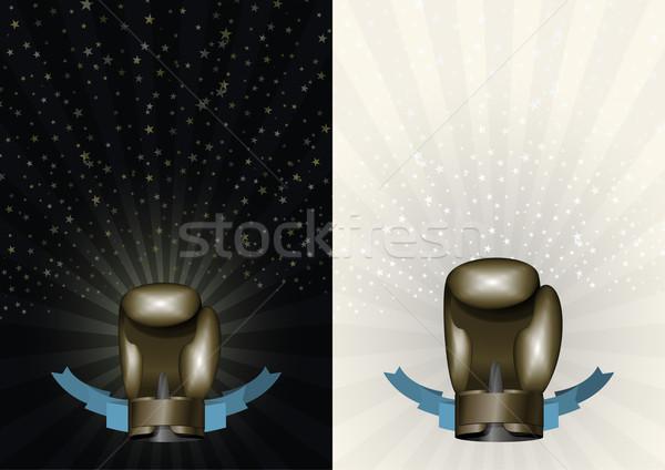 Boks eldivenleri şablon şampiyonluk boks bronz Stok fotoğraf © popaukropa
