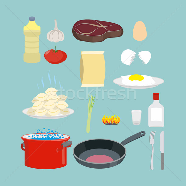 Stock photo: Set of kitchen utensils and food. Pan and casserole, meat and eg