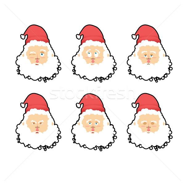 Święty mikołaj emocje zestaw christmas charakter zły Zdjęcia stock © popaukropa