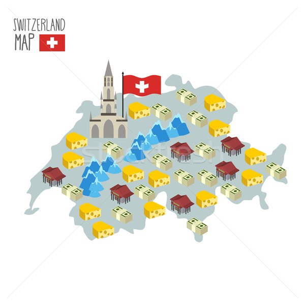 Map of Switzerland. Attraction of Berne Cathedral. Characteristi Stock photo © popaukropa