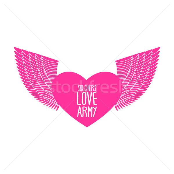 Ejército soldado amor funny militar logo Foto stock © popaukropa