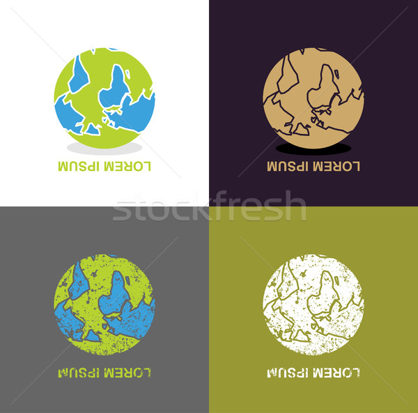 Inverted Earth - logo for travel company. Planet inverted upside Stock photo © popaukropa