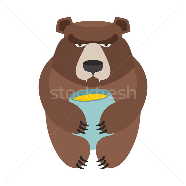 Bear and honey barrel. Cute wild animal and food. Forest predato Stock photo © popaukropa
