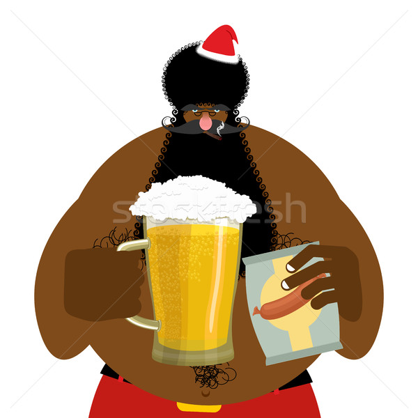 Santa Claus and beer. Christmas beer mug. New Year alcohol Stock photo © popaukropa