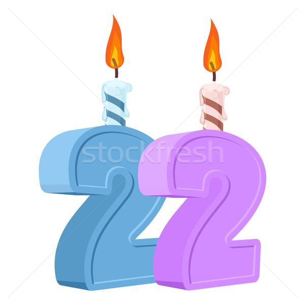 22 anos aniversário número vela Foto stock © popaukropa