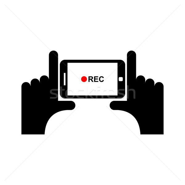 Poziomy wideo podpisania strony smartphone technologii Zdjęcia stock © popaukropa