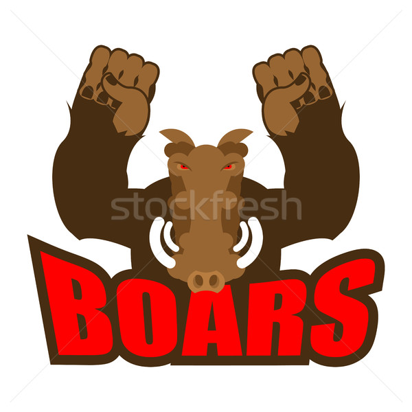 Strong angry boar warthog. Wild boar and barbell. Emblem for spo Stock photo © popaukropa