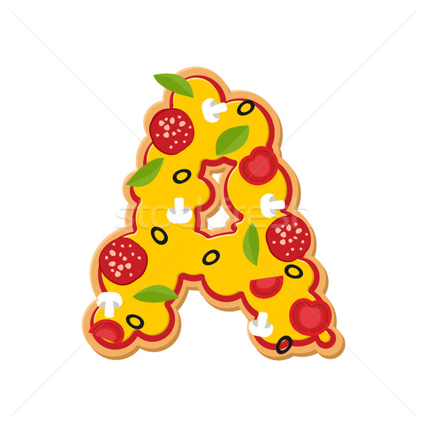 Letter A pizza font. Italian meal alphabet. Lettring fast food Stock photo © popaukropa