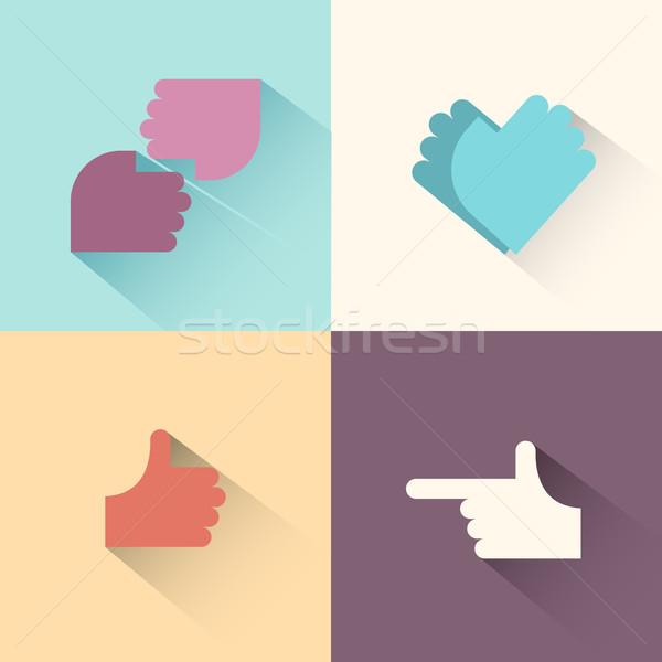 Hand gestures logo set.symbol of friendship, the symbol of love. Stock photo © popaukropa