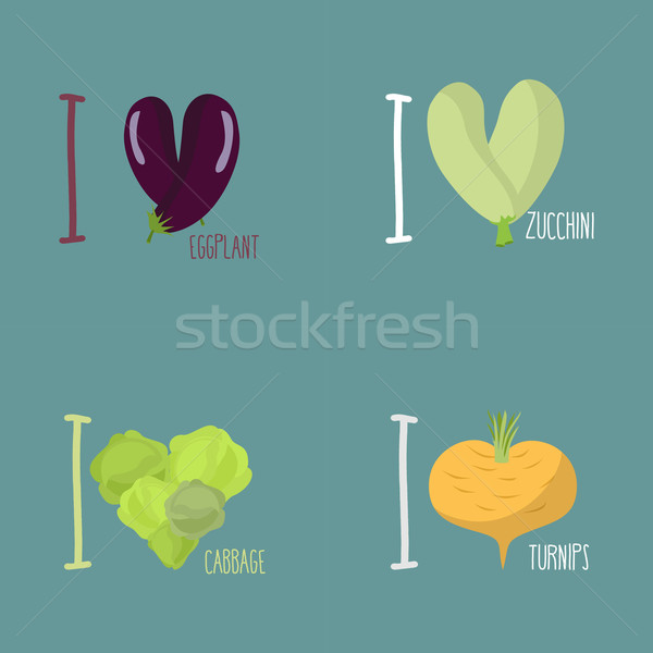 Collection of vegetables. Set of I love eggplant, turnips. Symbo Stock photo © popaukropa