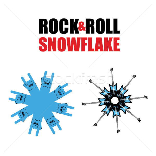 Rock and roll snowflakes. Rock hand sign in form of snowflakes.  Stock photo © popaukropa