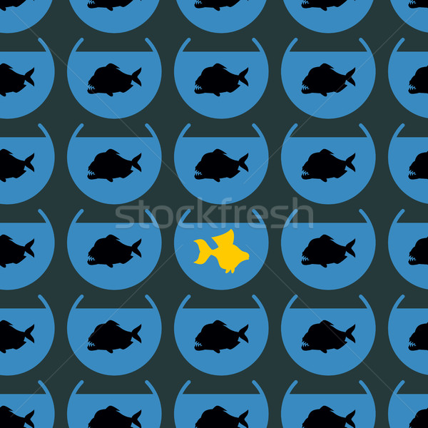 Goldfish in flock Piranha seamless pattern. Not like other. Diff Stock photo © popaukropa