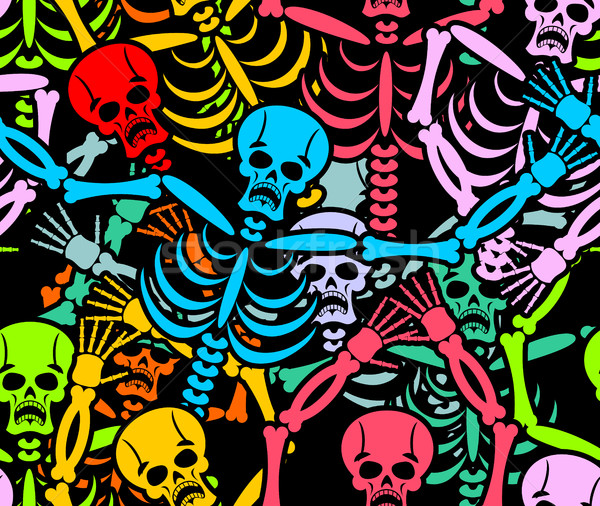 Day of the Dead seamless pattern. Multicolored skeleton ornament Stock photo © popaukropa