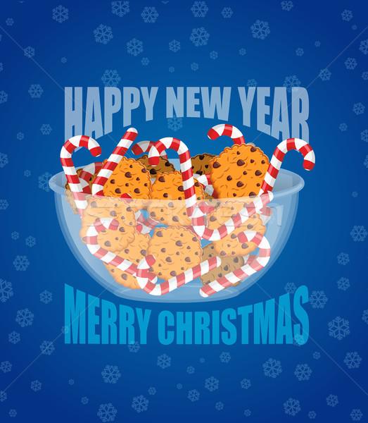 új év karácsony borsmenta cukorka sütik étel Stock fotó © popaukropa