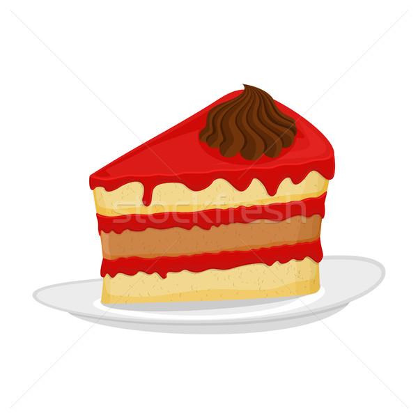 作品 ケーキ プレート パイ 孤立した デザート ストックフォト © popaukropa