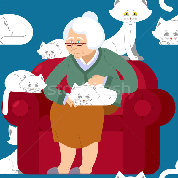 Cat lady pattern. Grandmother and cat sitting on chair pattern.  Stock photo © popaukropa