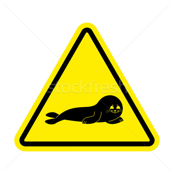 Attention Fur Seal. Caution small sea calf. Yellow triangle road Stock photo © popaukropa