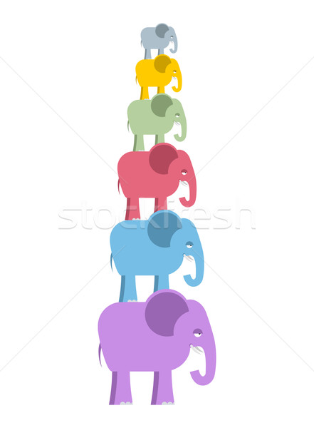 Pyramid color elephants. Colorful cute animals of jungle. Big an Stock photo © popaukropa