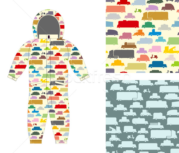 Clothes for children. Kids overalls. Texture of toy transport. S Stock photo © popaukropa