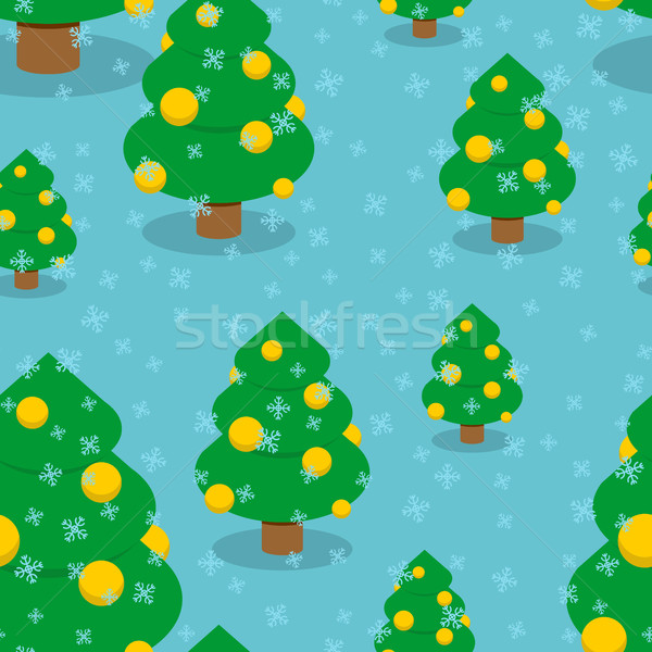 Christmas tree with balls seamless pattern. Winter forest textur Stock photo © popaukropa