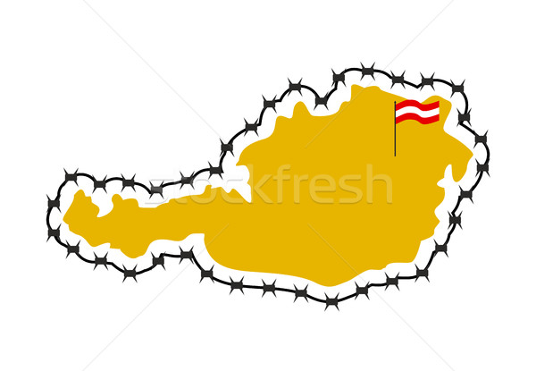 Map Of Austria. Country closes  border against refugees. Map of  Stock photo © popaukropa