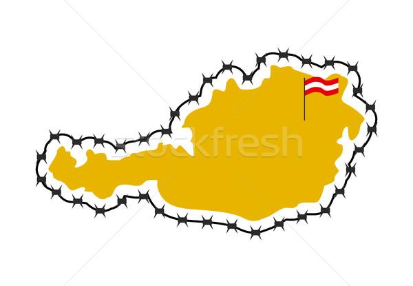 Térkép Ausztria vidék keret szögesdrót európai Stock fotó © popaukropa