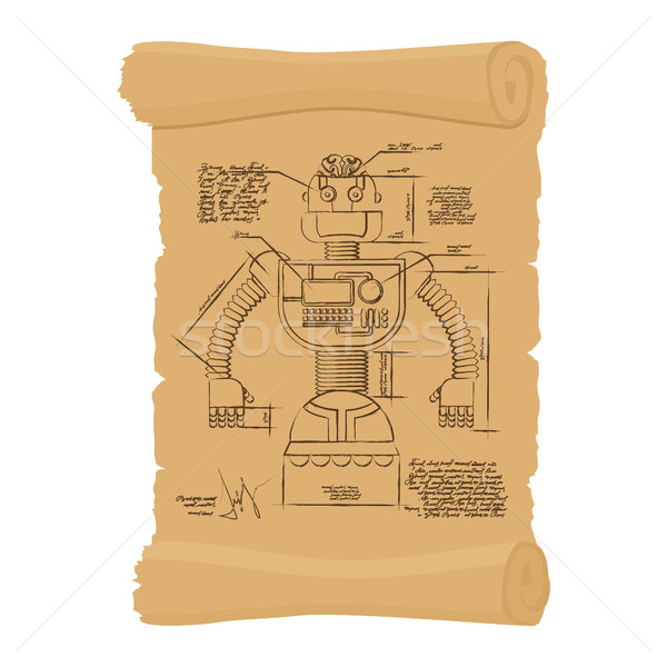 Old Drawing of robot on scroll. Design of technological devices  Stock photo © popaukropa