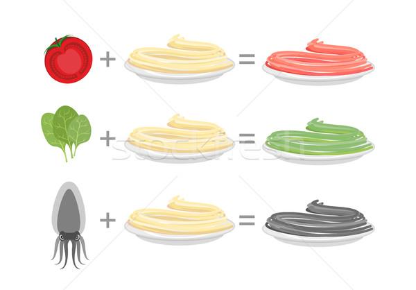 Assorted color pasta. Spaghetti and spinach-green paste. Spaghet Stock photo © popaukropa