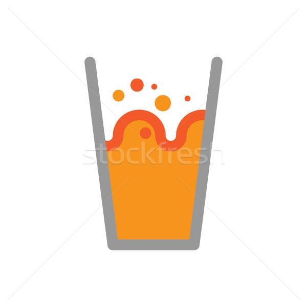 Stock fotó: Narancslé · üveg · izolált · csobbanások · cseppek · víz