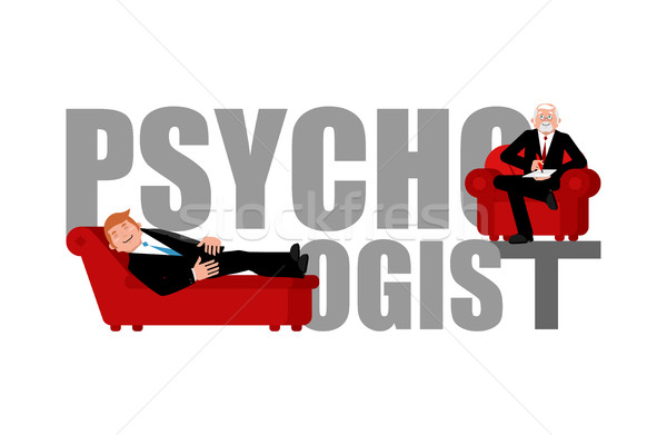 Psychologist lettering. Consultation of psychotherapist. Couch p Stock photo © popaukropa