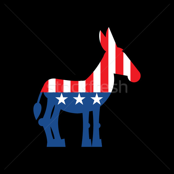 Democrat Donkey and US flag. Political Party America Stock photo © popaukropa